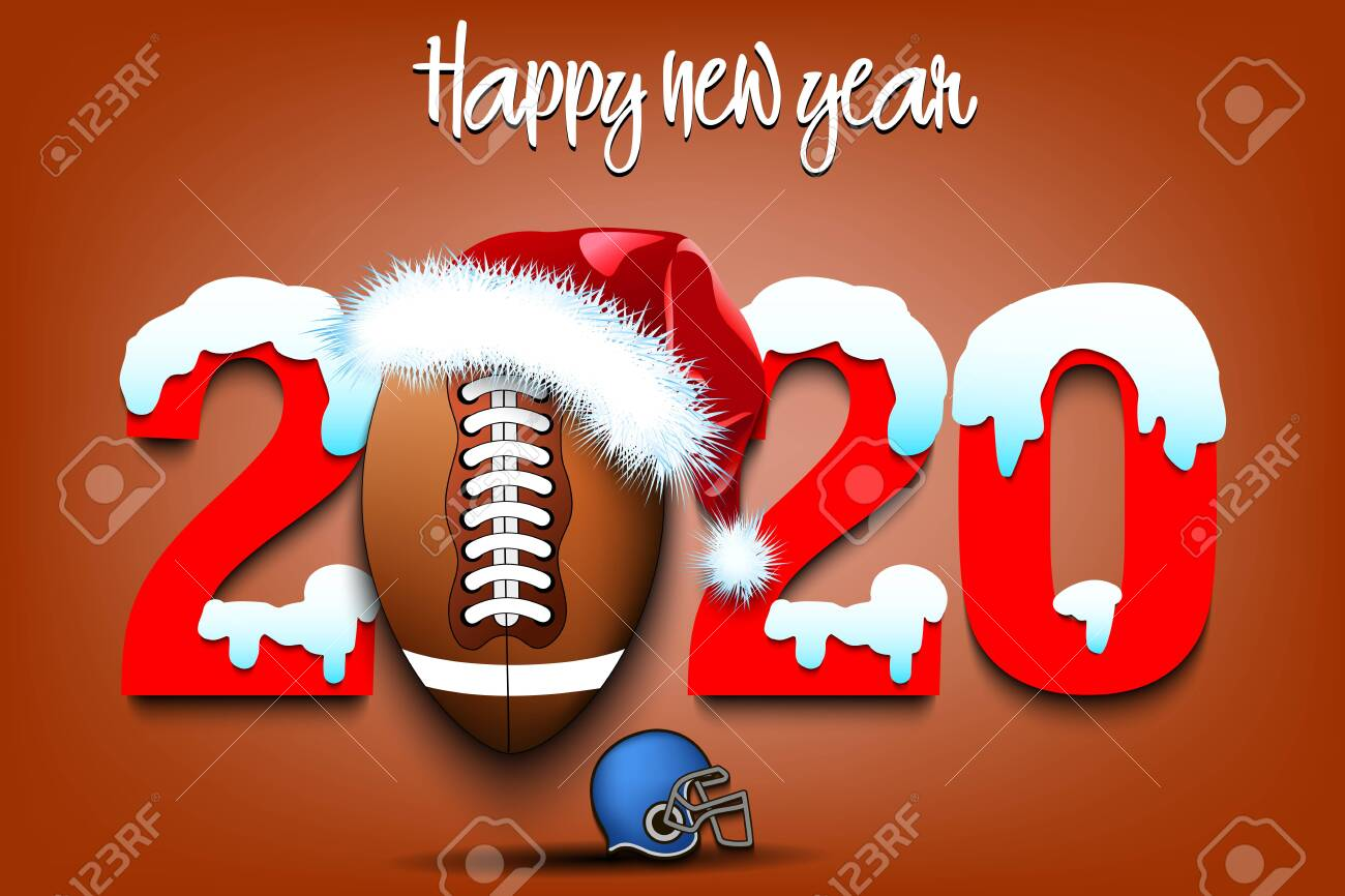 Christmas Eve Football 2020 Snowy New Year Numbers 2020 And Football Ball In A Christmas