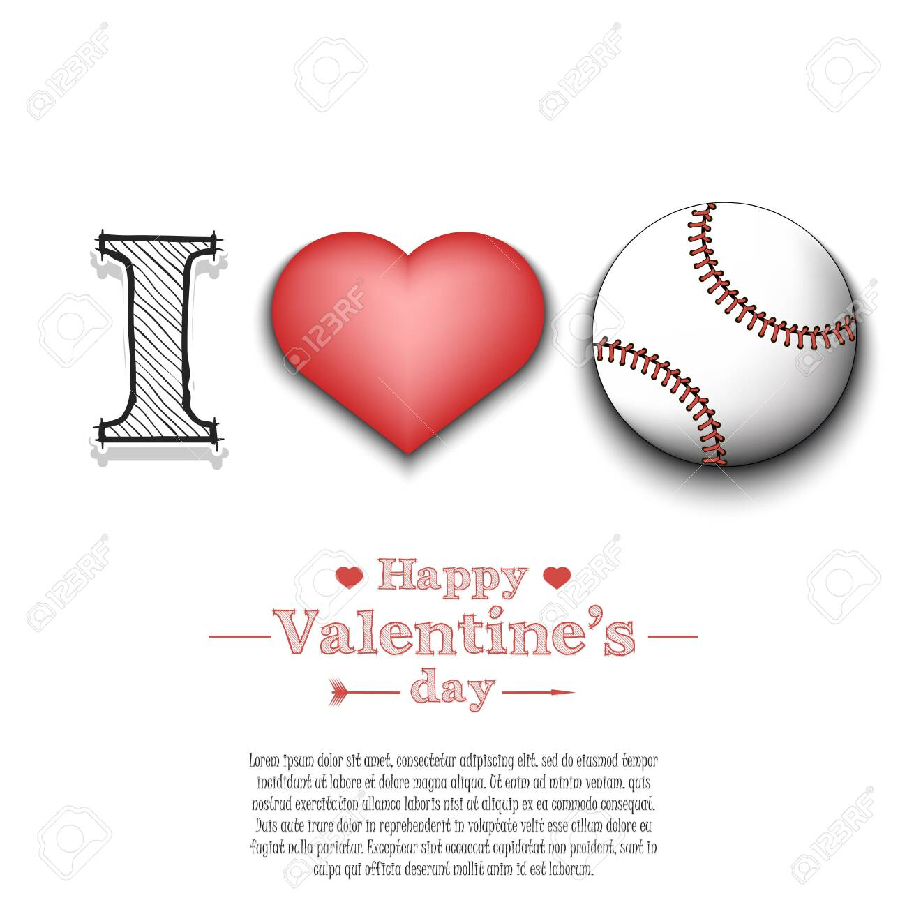 I Love Baseball Happy Valentines Day Pattern With Baseball Royalty Free Cliparts Vectors And Stock Illustration Image 139037916