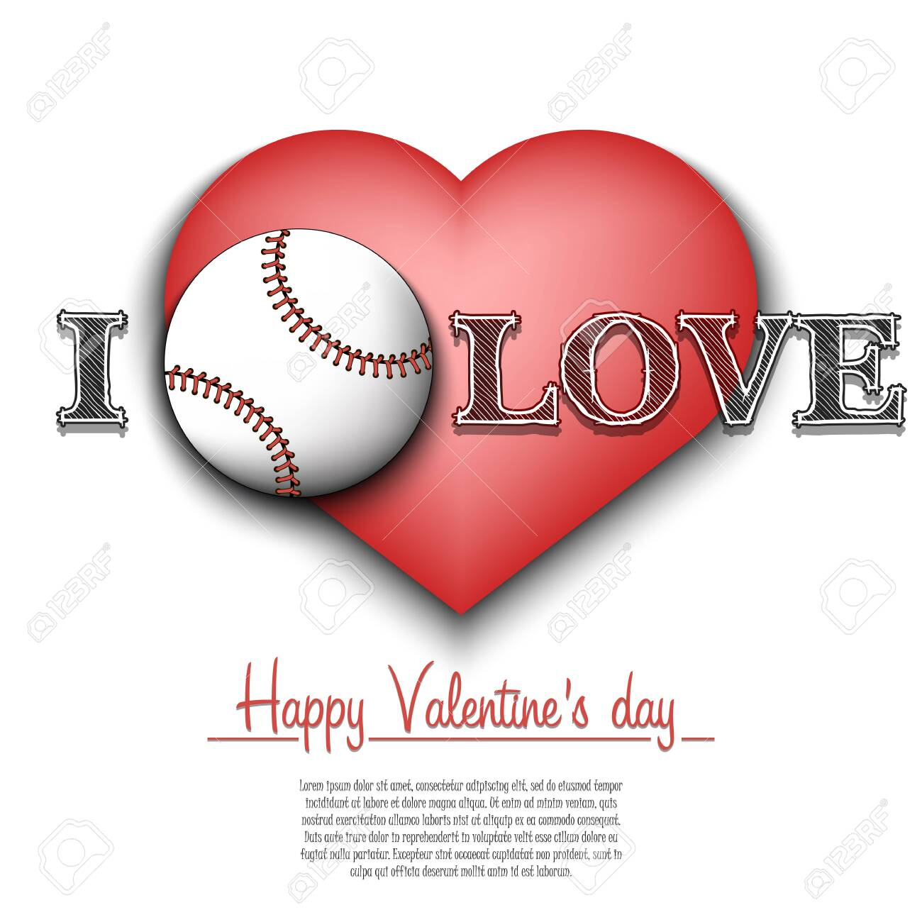 I Love Baseball Happy Valentines Day Pattern With Baseball Royalty Free Cliparts Vectors And Stock Illustration Image 139037929