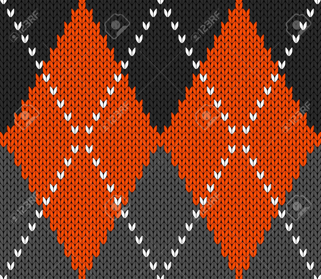 Knitted argyle Halloween pattern. Wool knitinng. Scottish plaid in orange, black and grey rhombuses. Traditional Scottish background of diamonds . Seamless fabric texture. Vector illustration - 158134425