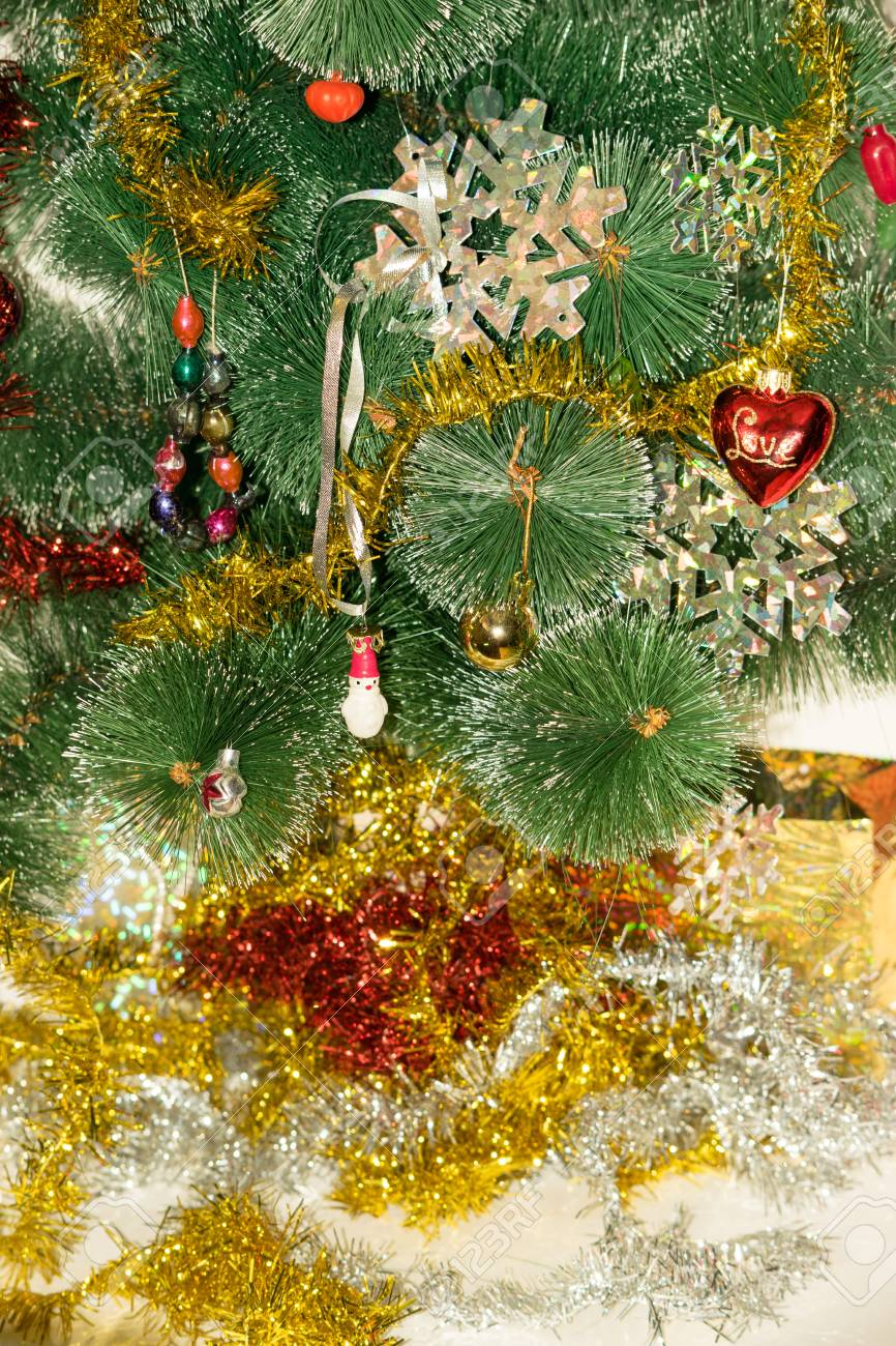 Christmas Tree Decorated With Bright Colorful Toys, Snowflakes ...