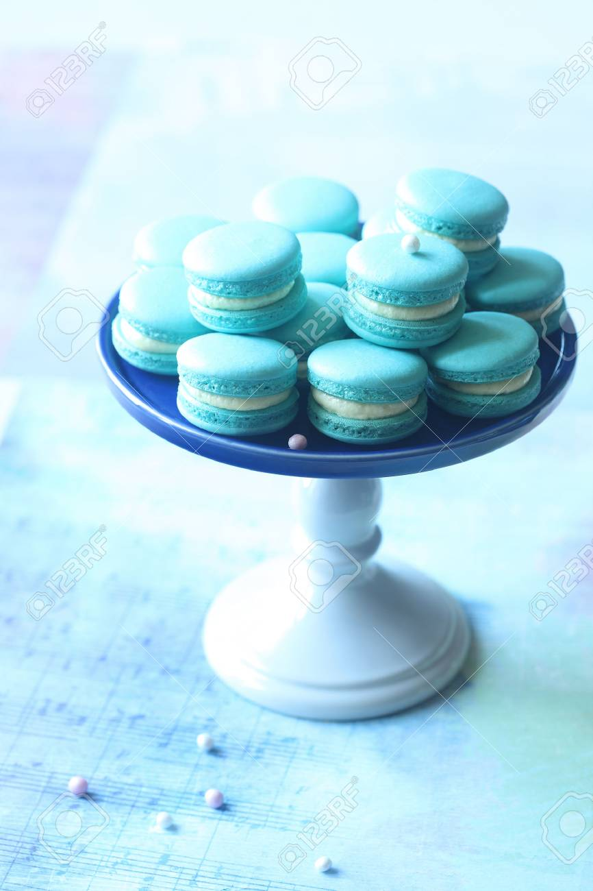 Blue Macarons With Cream Cheese And Blueberry Filling On A Little Stock Photo Picture And Royalty Free Image Image 84568612