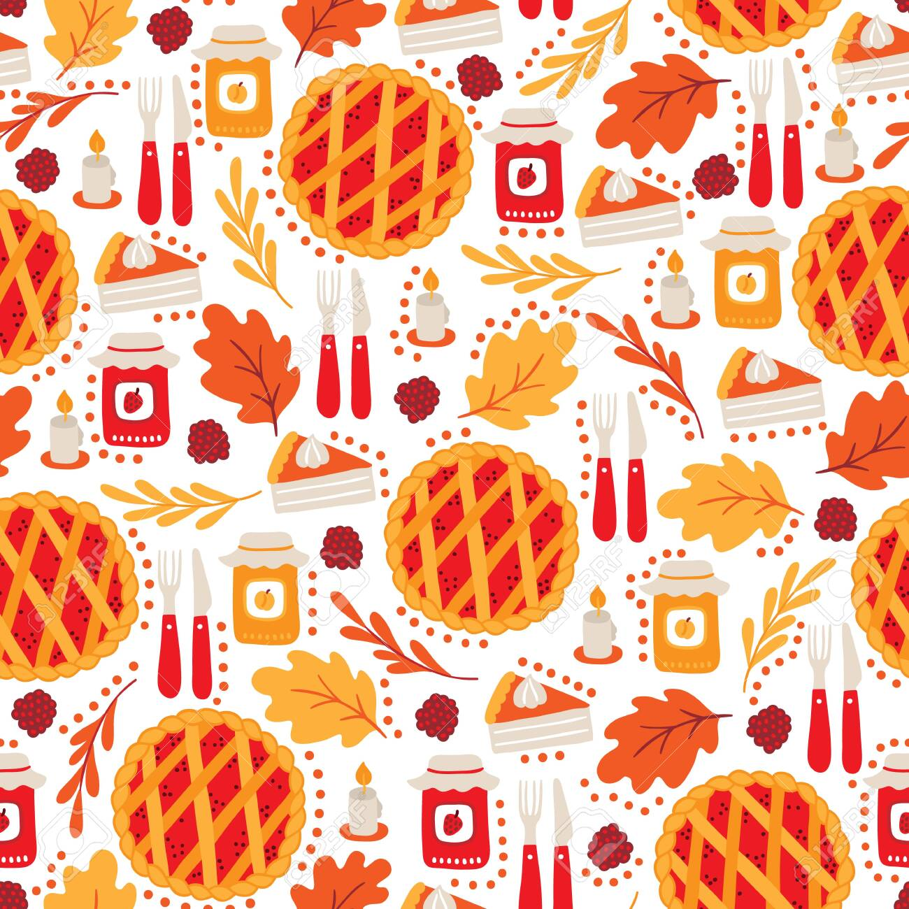 Thanksgiving Day Seamless Pattern With Pie Candle Jam Oak
