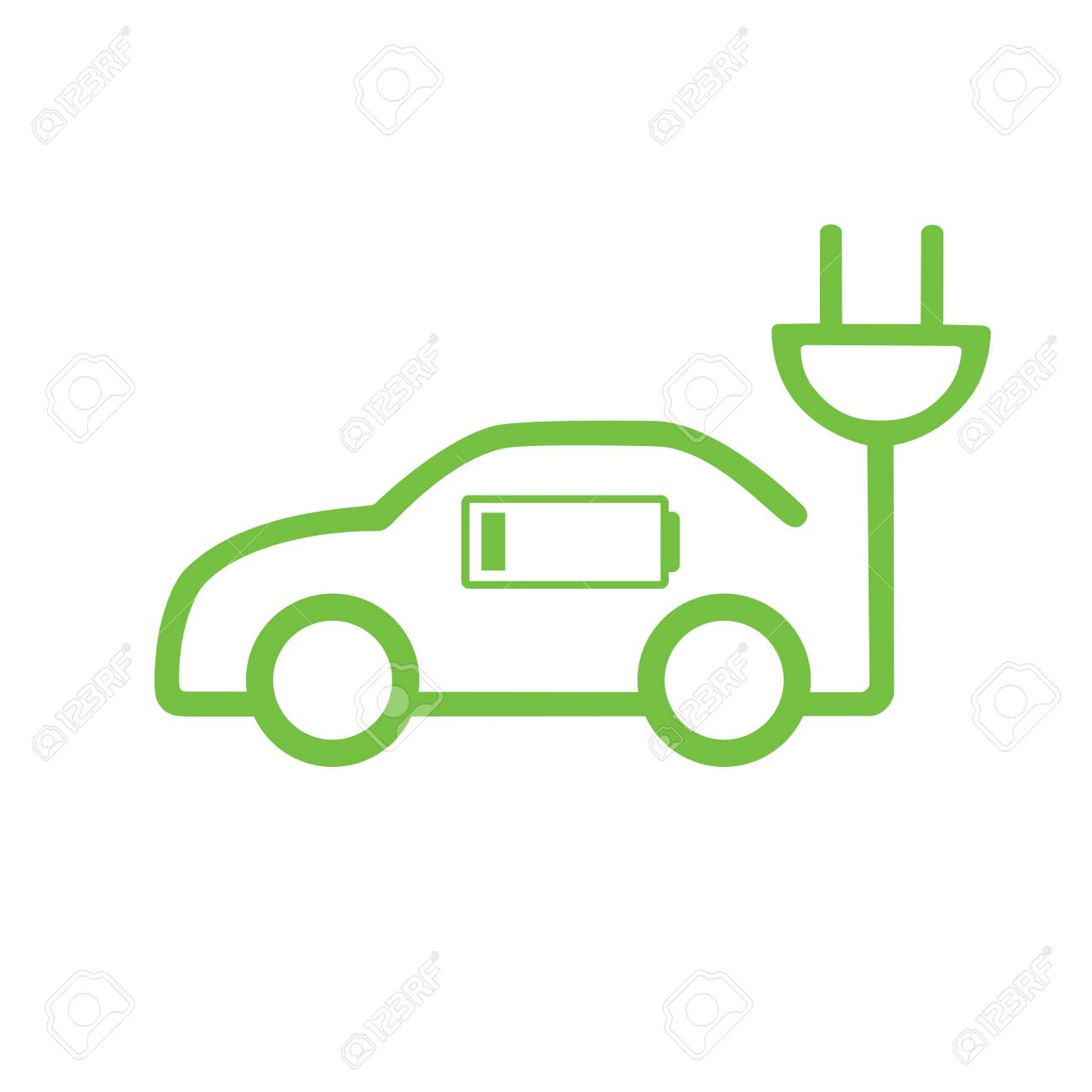 Car vector icon in thin line style, hybrid vehicles icon. Eco friendly auto or electric vehicle concept on white background. - 94780450