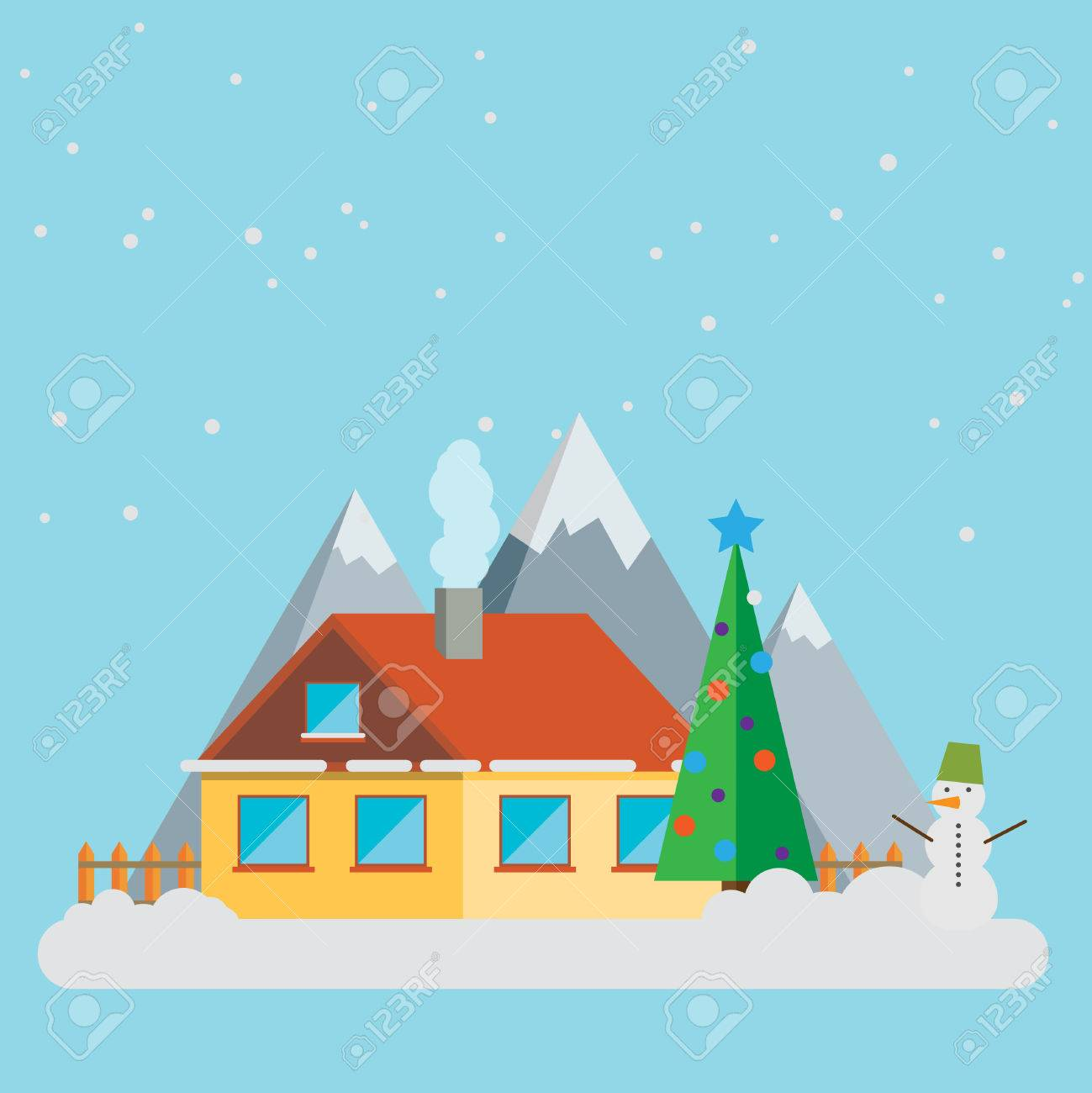 New year landscape christmas accessories icons greeting card new year landscape christmas accessories icons greeting card elements trendy modern flat design template vector illustration kristyandbryce Gallery