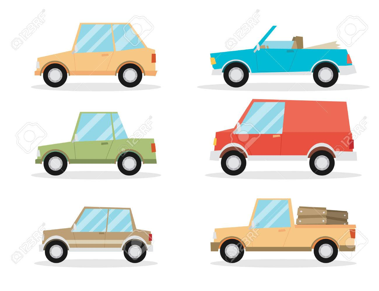 Set Of Cartoon Cars. Flat Vector. Royalty Free Cliparts, Vectors ...