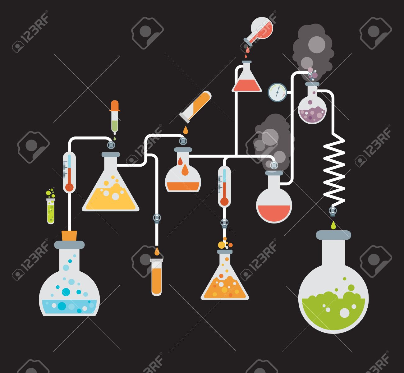 Chemistry Infographics Template Showing Various Tests Being ...