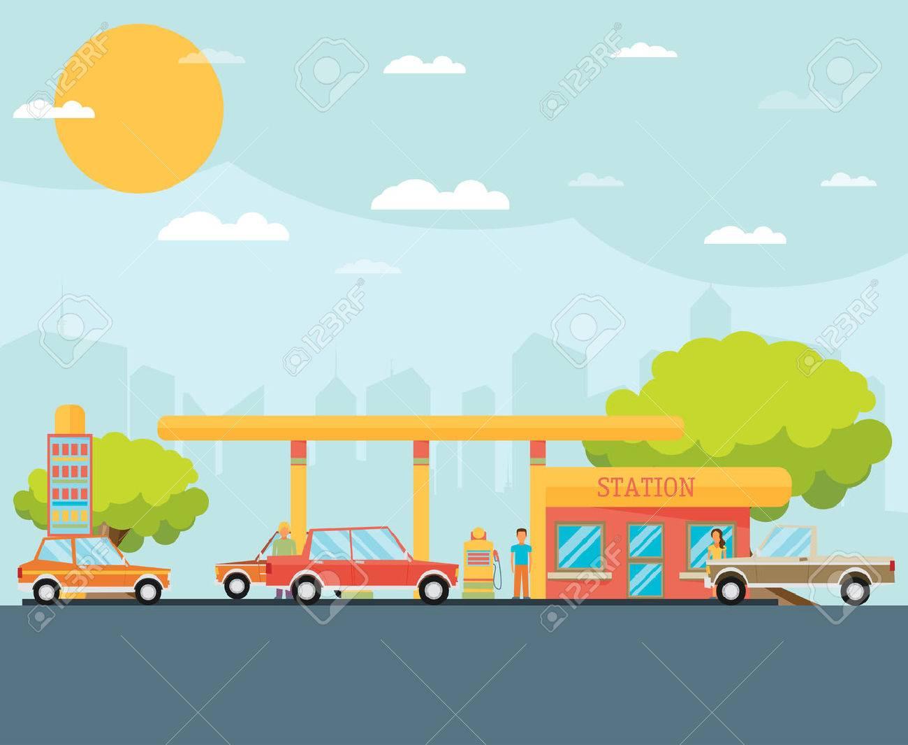 Gas station vector illustration - 42156393