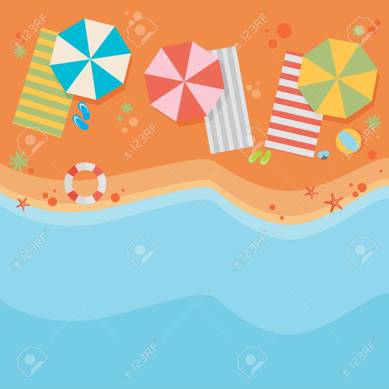 Beach flat design background - 43767681