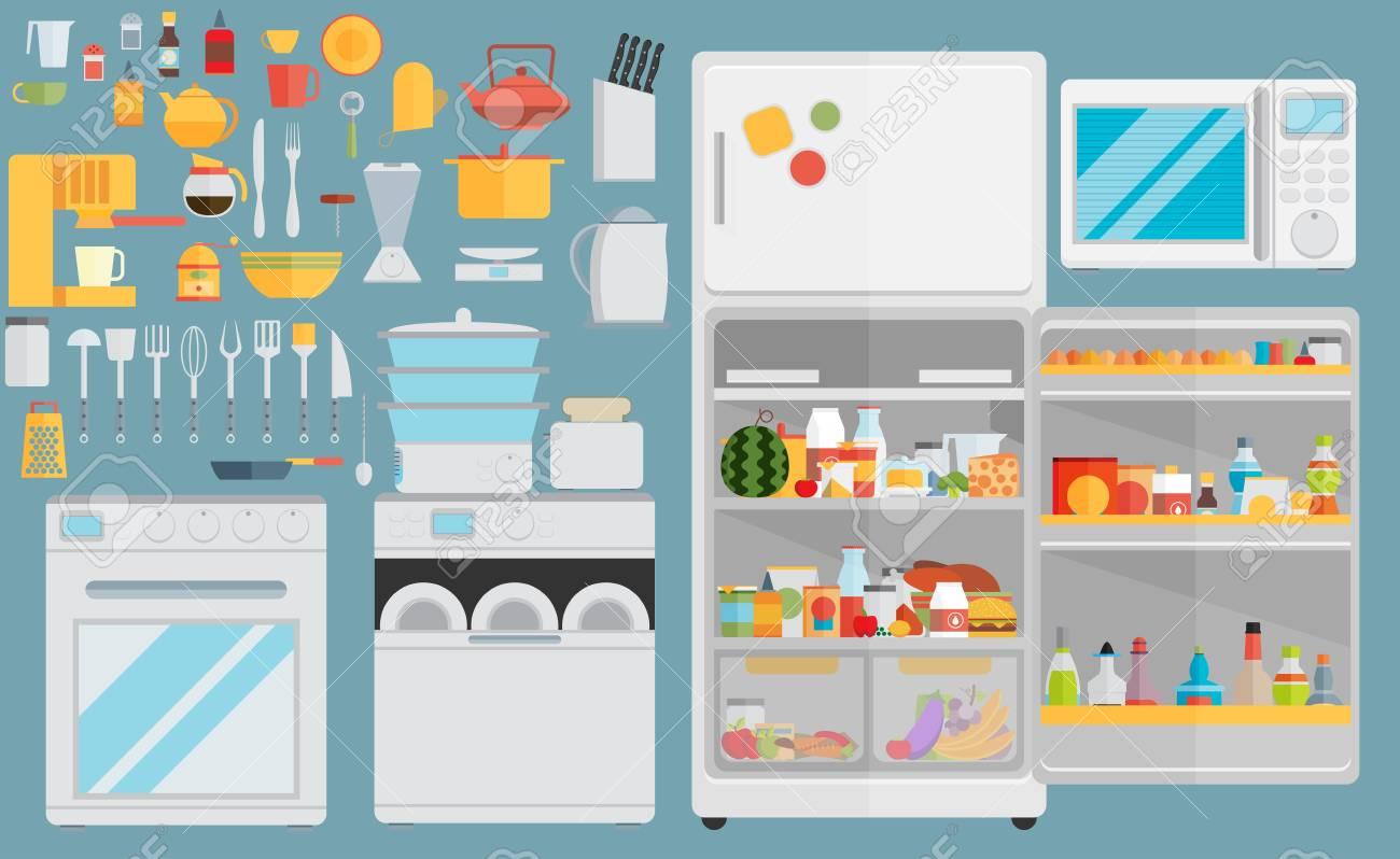Wohnung Symbole Für Küchengeräte. Set Von Grauen Flachen Icons Mit ...