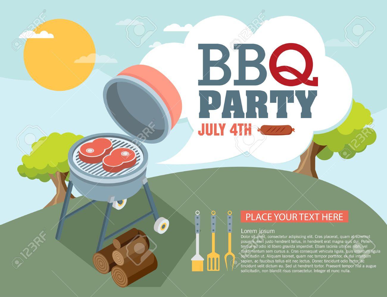 Invitation card on the barbecue - 46200191