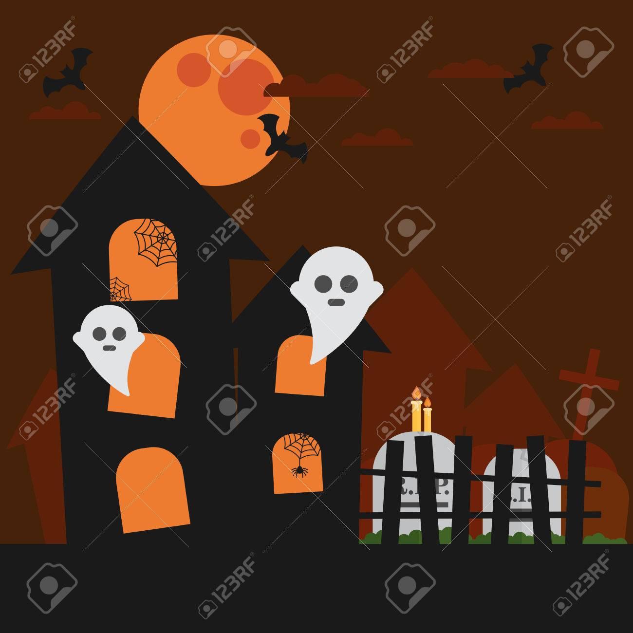 Haunted House Bat Ghost Cloud In The Sky Halloween Card Orange