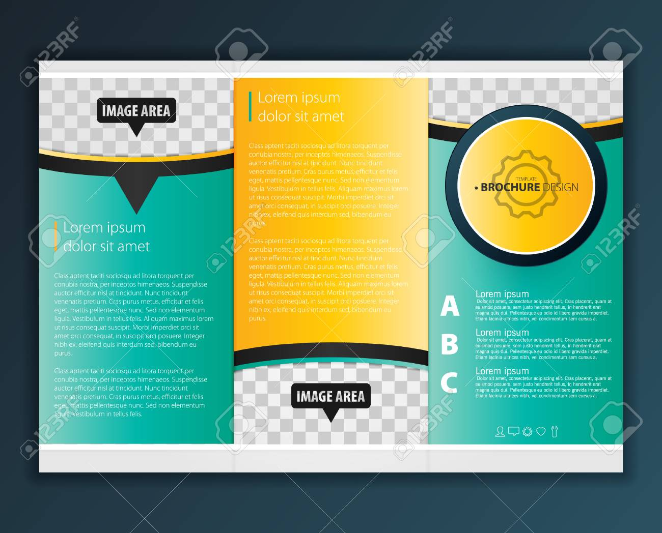 vector modern tri fold brochure design template royalty free