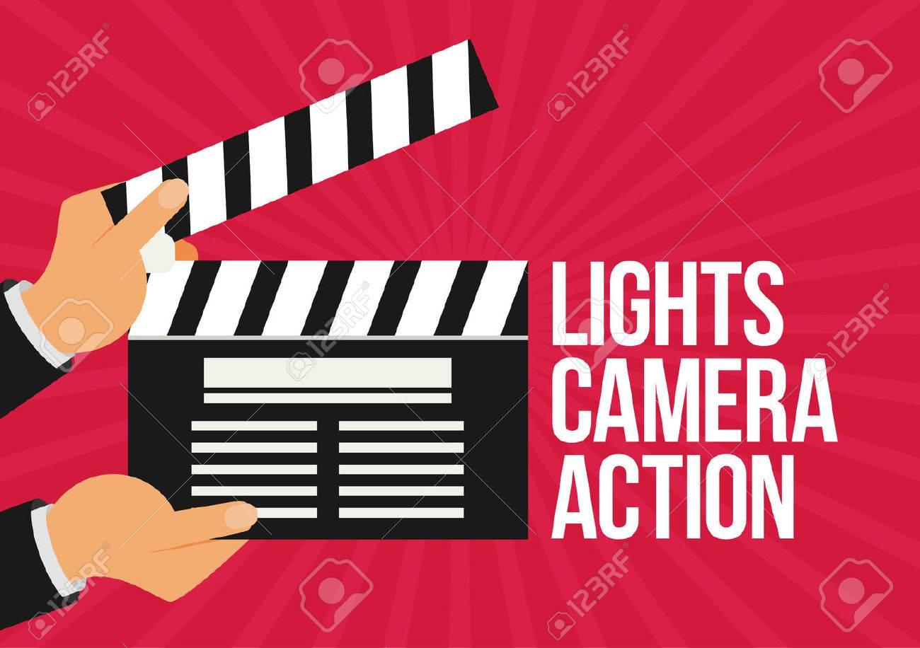 Lights Camera Action Flat Vector Stock