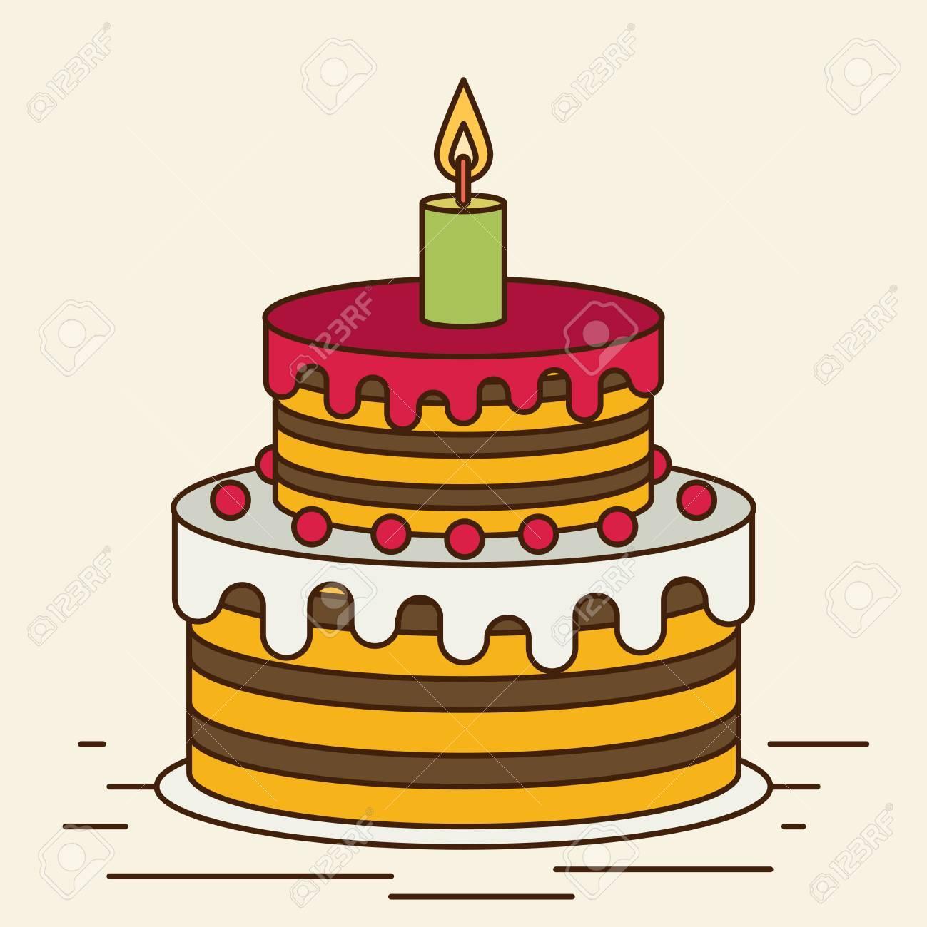Torta Di Compleanno Bigné Dolci Illustrazione Vettoriale Di Cartone Animato Disegno Piatto Cartolina