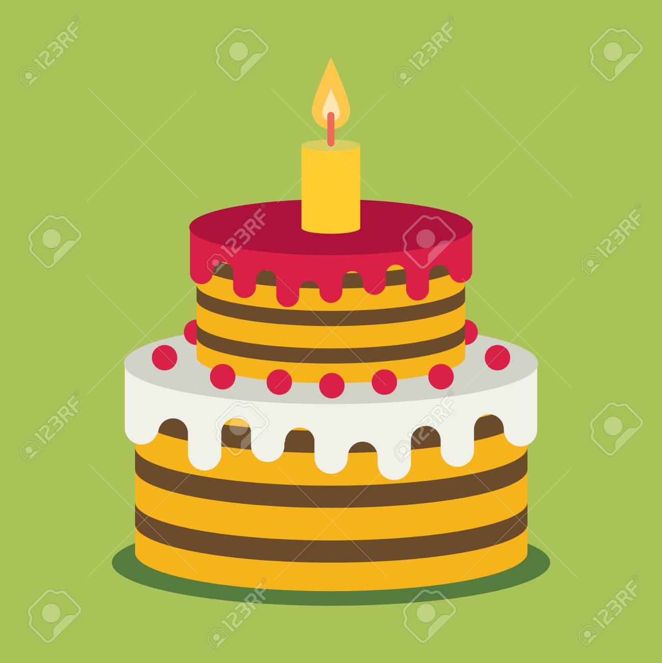 Birthday Cake Sweet Cupcakes Cartoon Vector Illustration Flat