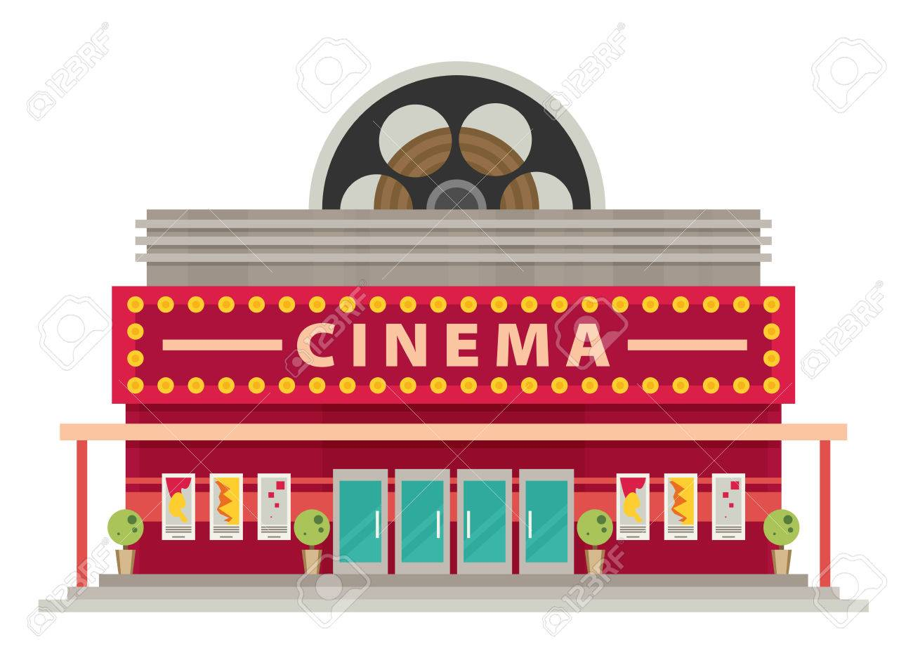 cinema building flat style movie theater royalty free cliparts rh 123rf com movie theater clipart black and white movie theater popcorn clipart
