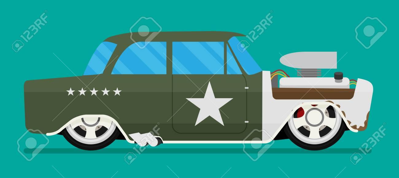 Vector Hotrod Flat. Old School Race Car. Royalty Free Cliparts ...
