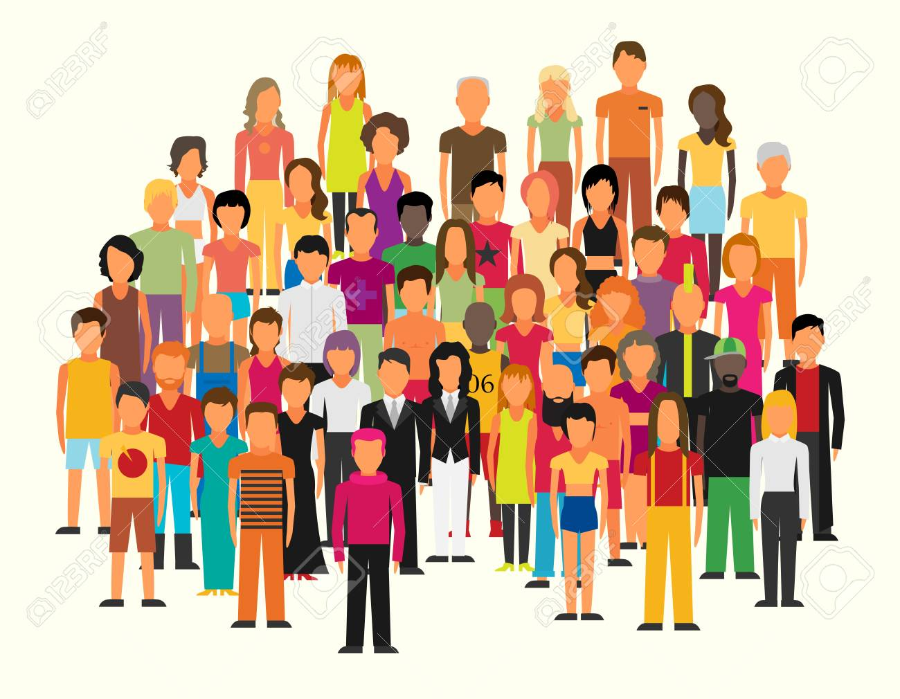 Flat illustration of society members with a large group of men and women - 94585648