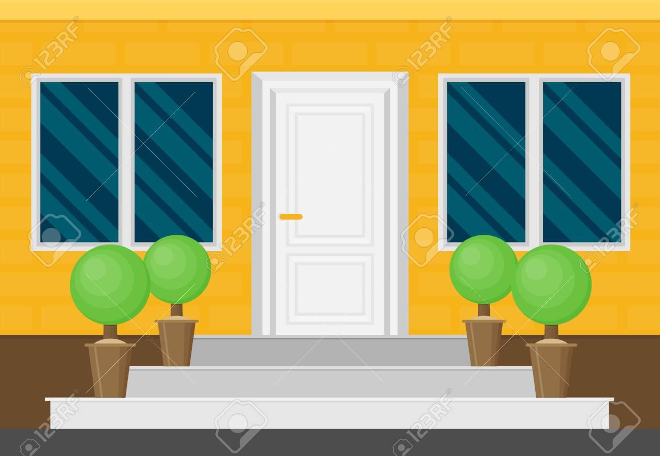 Front Door House Exterior Flat Vector Royalty Free Cliparts Vectors