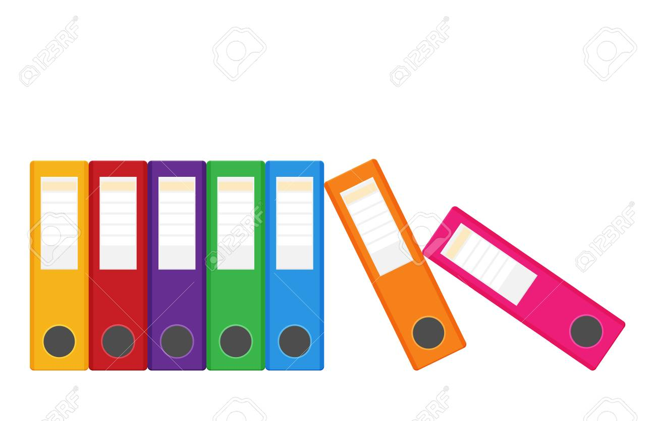 Set of colored ring binders isolated on white. Vector illustration in flat style - 110959724
