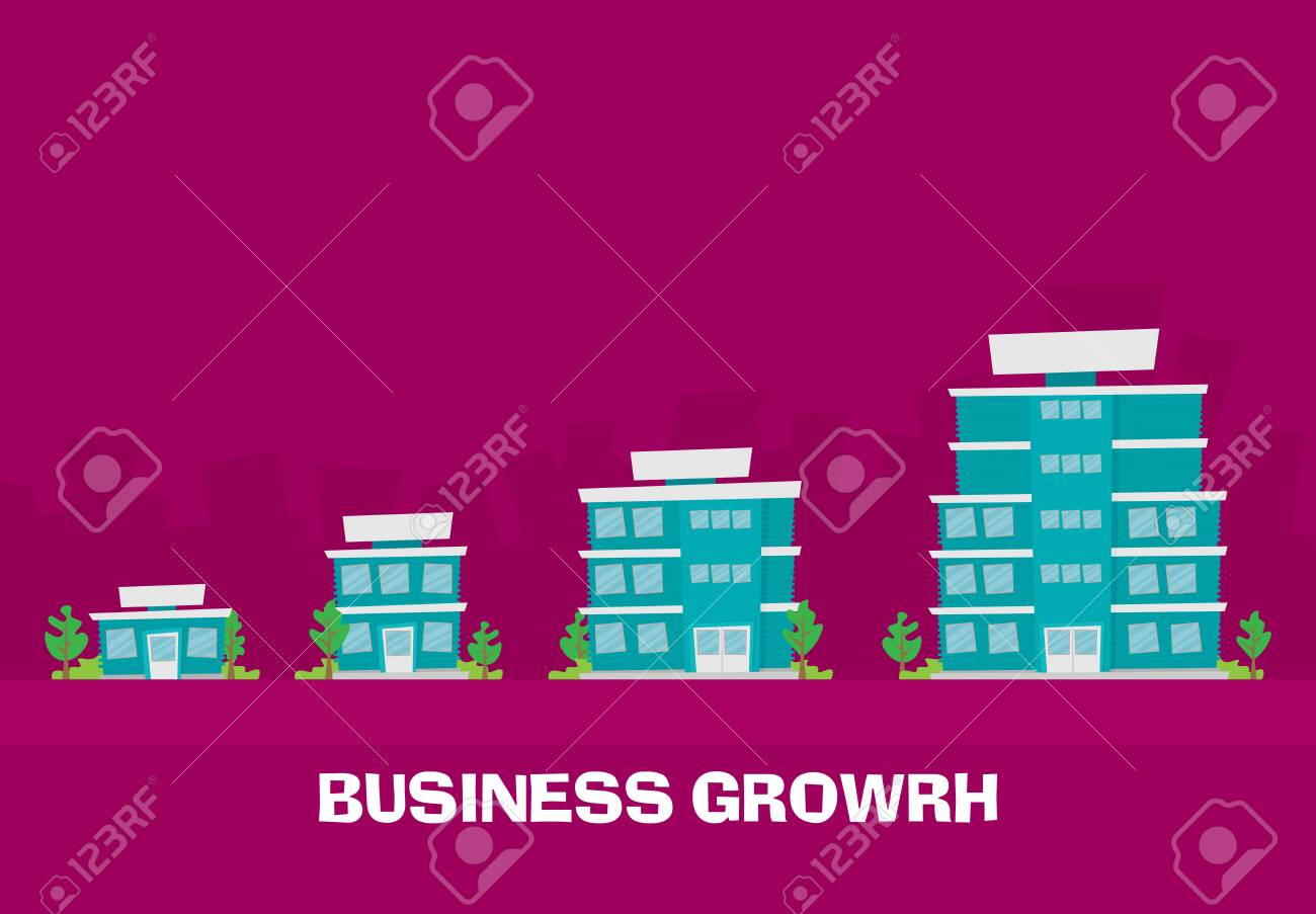 Growth of business. Buildings of company small, middle and big. Flat vector. - 124189985