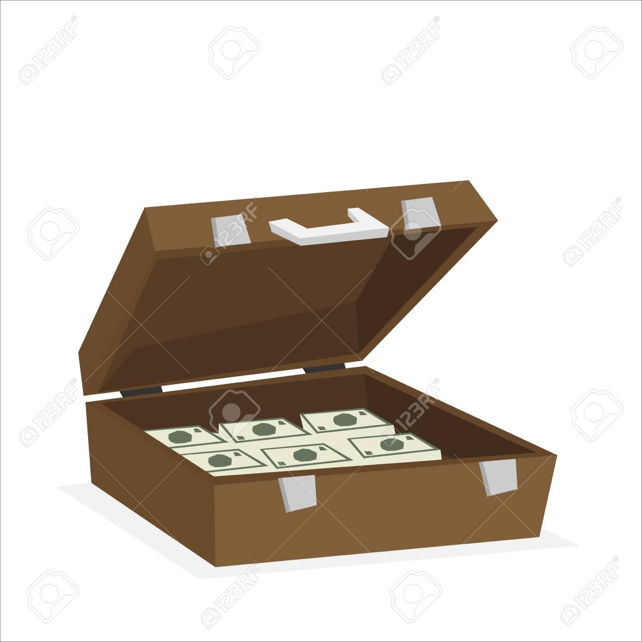 Case full of money isolated on background. Vector illustration - 122861403