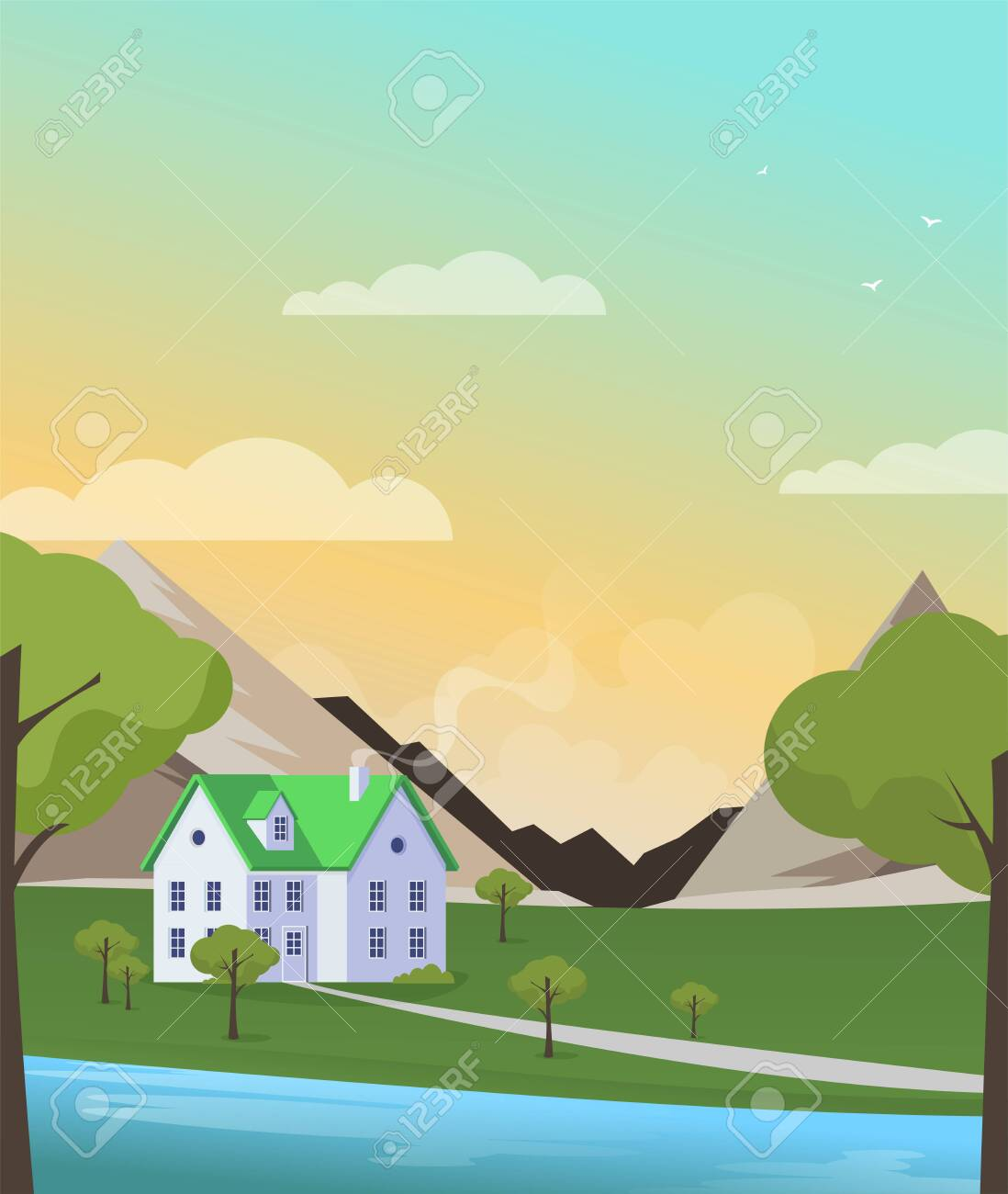 Family home in flat style. Vector illustration. - 135122224