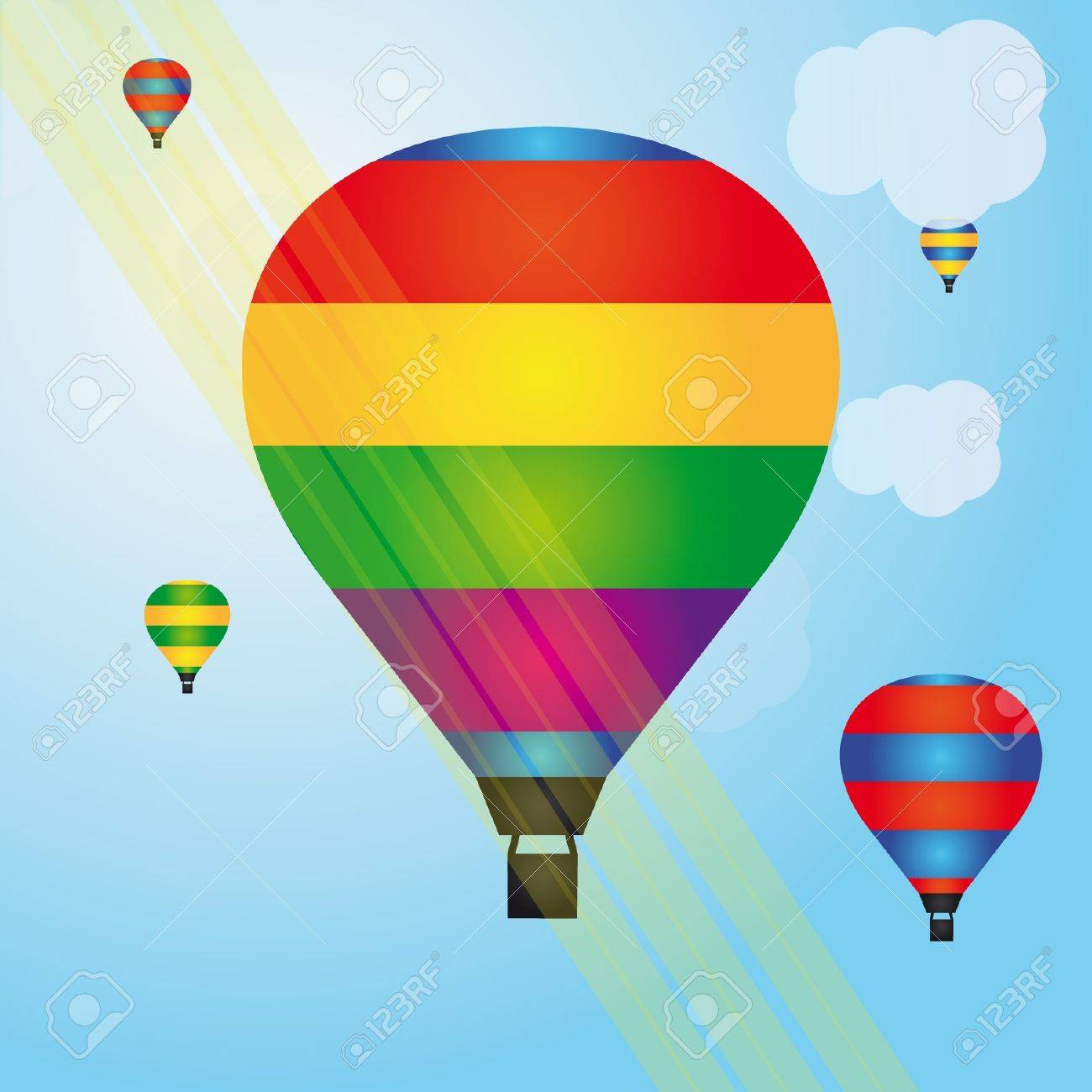 Colorful illustration of hot air balloons Stock Vector - 13435696