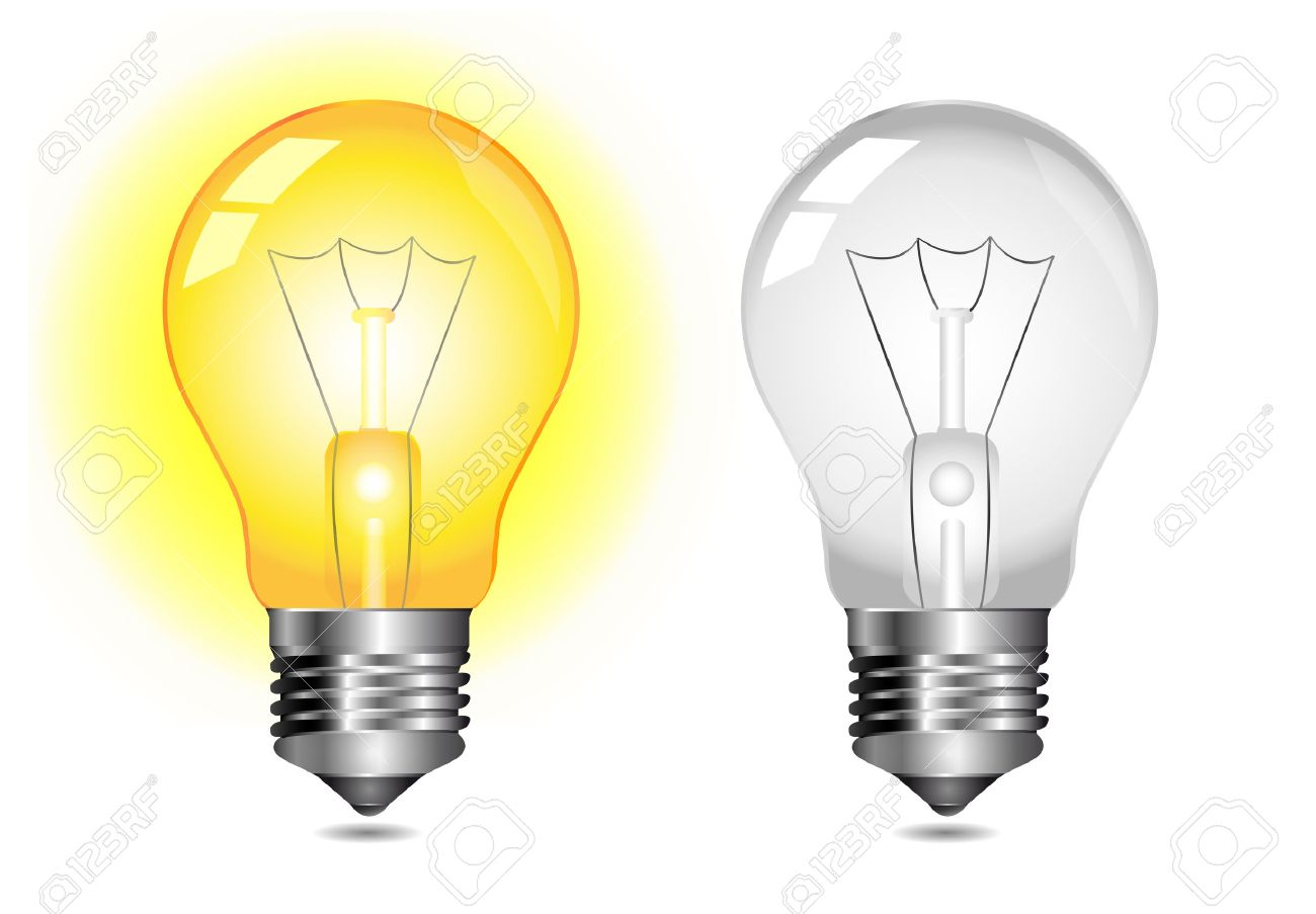 Glowing Light Bulb Icon On Off Royalty Free Cliparts Vectors And