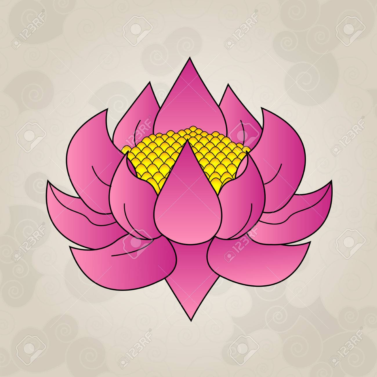 Pink Lotus Japanese Tattoo Royalty Free Cliparts Vectors And