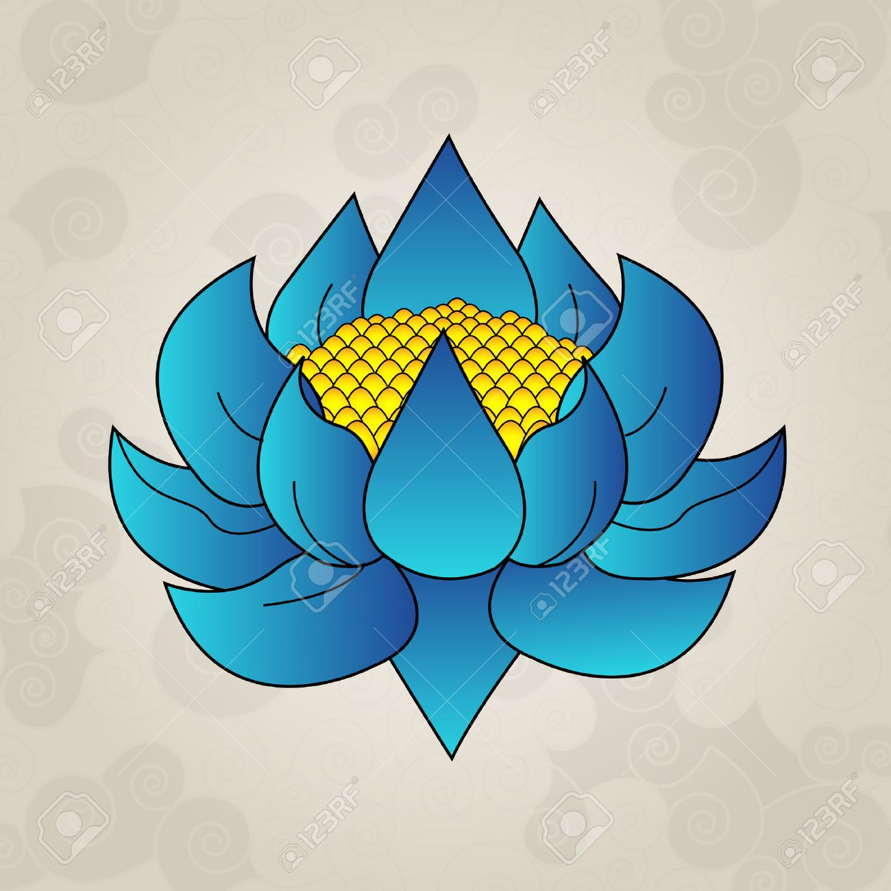 Blue Lotus Japanese Tattoo Royalty Free Cliparts Vectors And