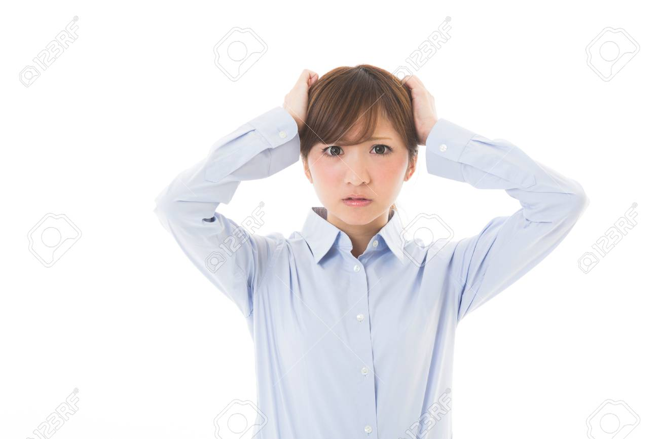 young attractive asian woman who is troubled Stock Photo - 21301403