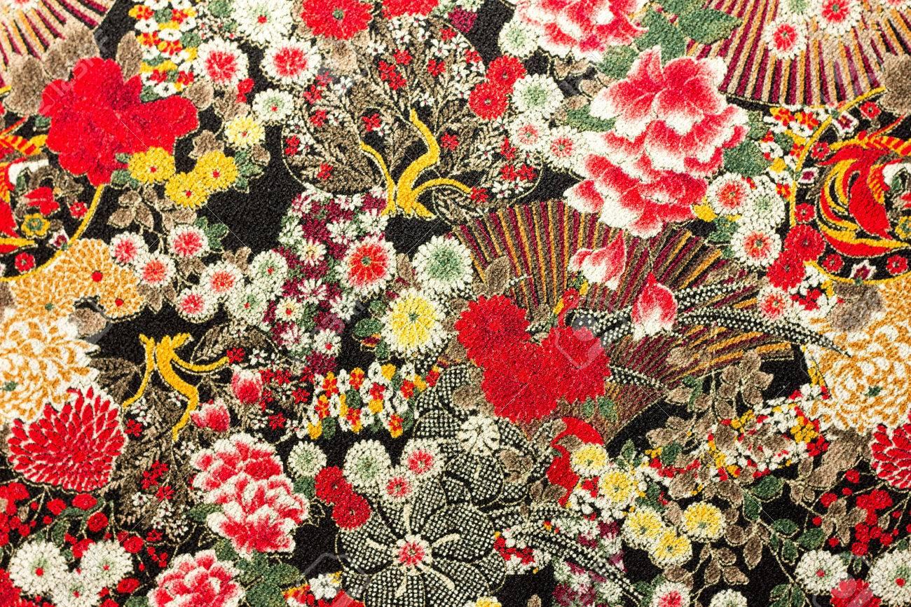 Photo of Asian flower pattern fabric - 54397162