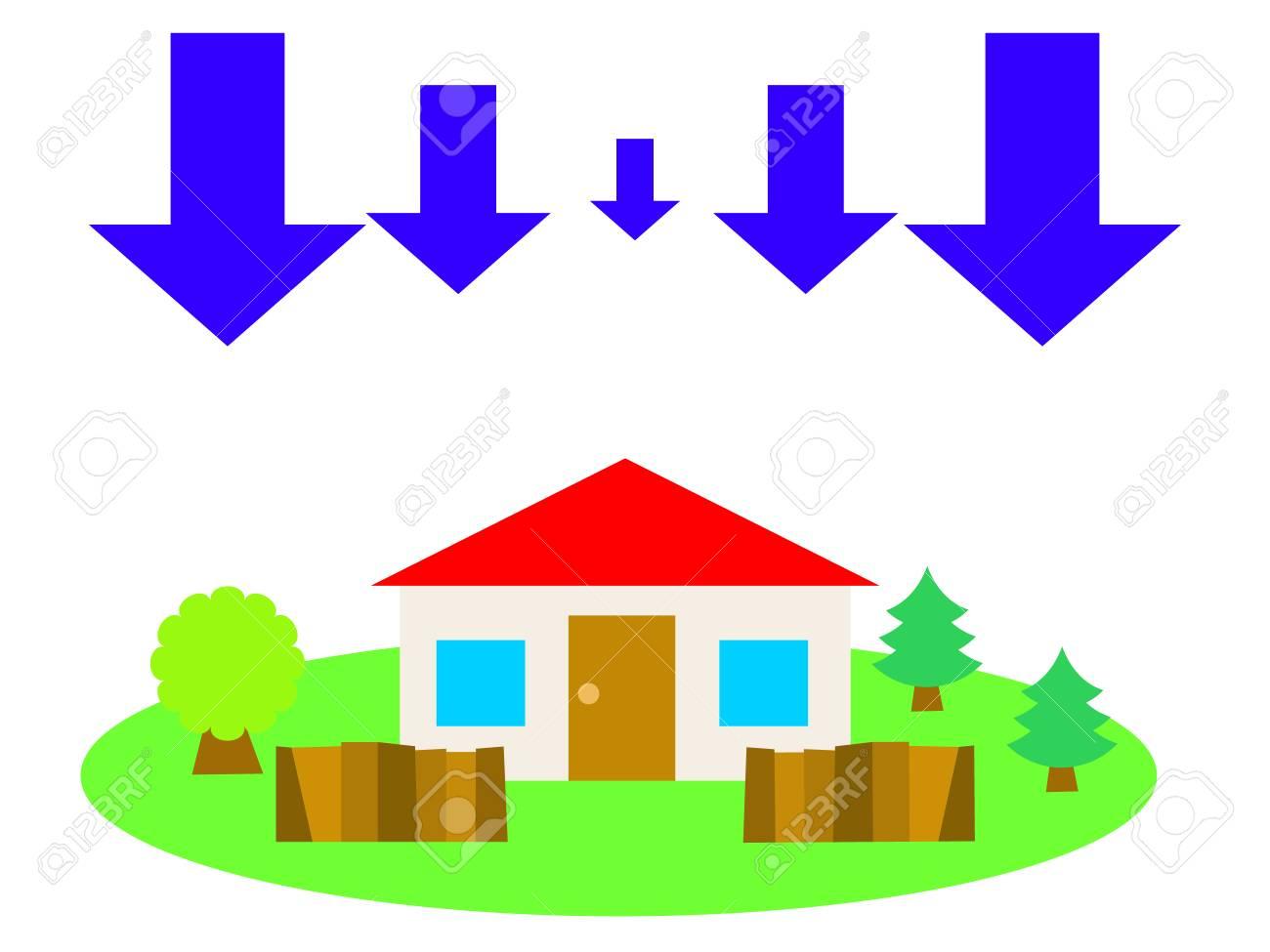Ein Rotes Dach Haus Auf Dem Land Und Abwärtspfeile Standard Bild   54406041