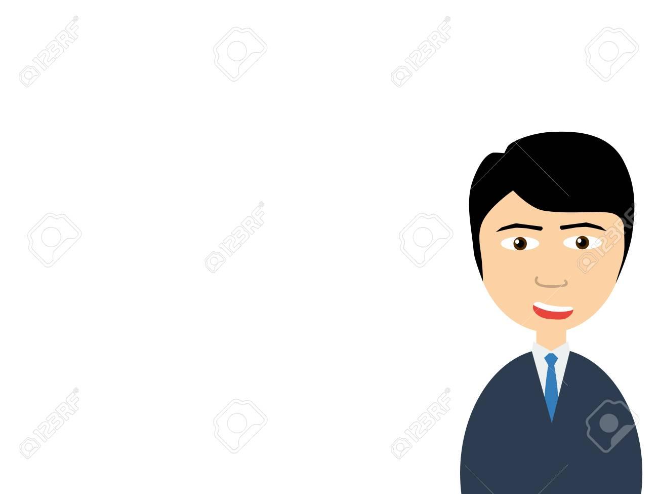 プレゼンテーションを作る笑顔ハンサムなセールスマンのフラット