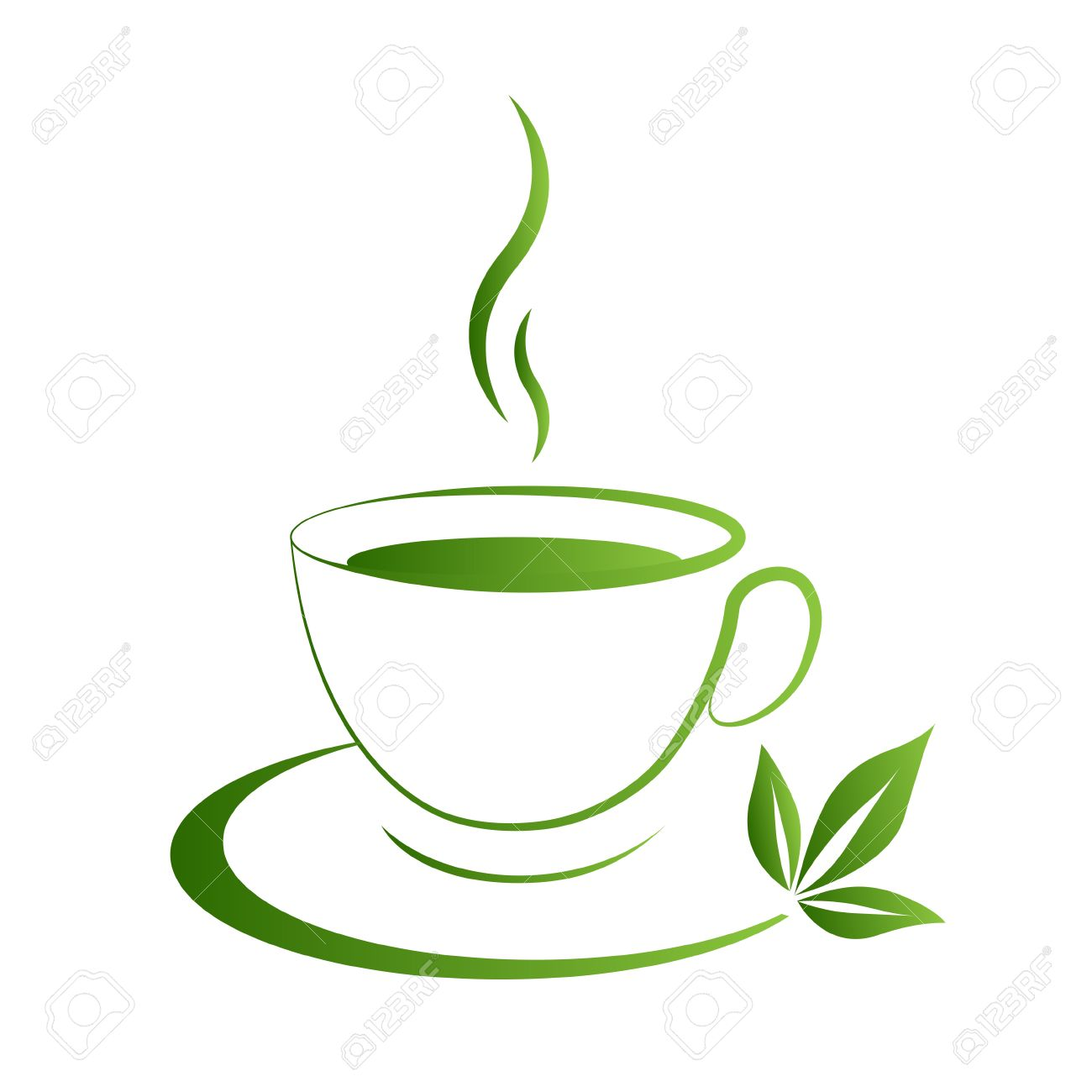 tea cup icon green grad on a white background royalty free cliparts rh 123rf com tea cup vector art tea cup vector png