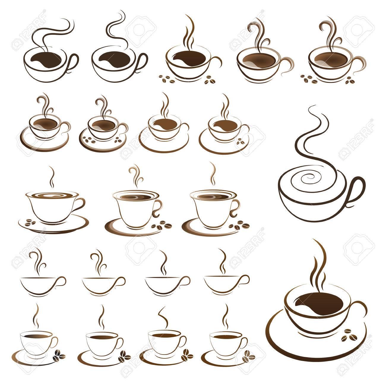 クリップアートは背景が白にホット コーヒー カップ ベクトルを設定の