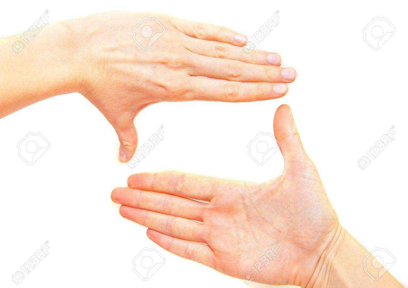 Female Hands Making Frame Isolated On White Background Stock Photo ...