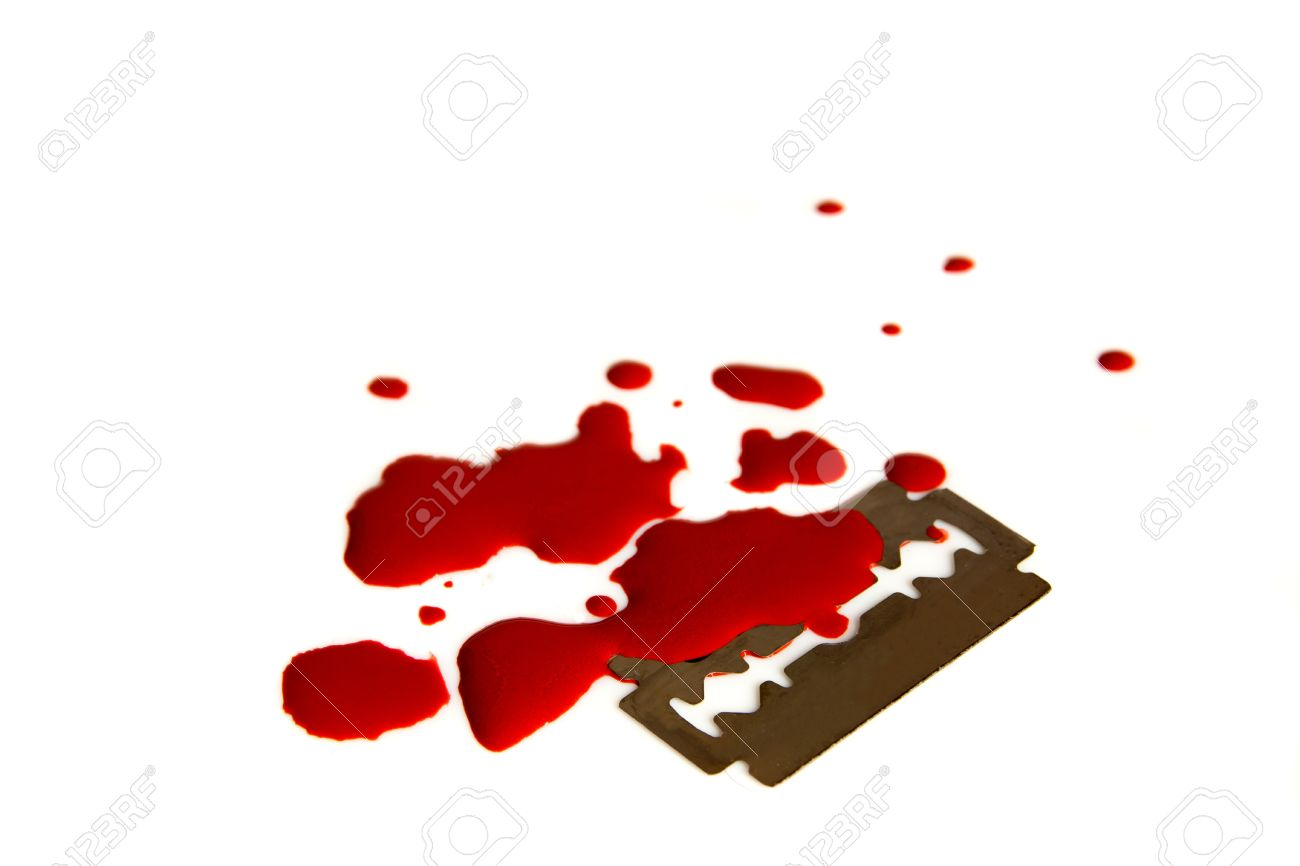 Pool (puddle, stains, droplets) of blood and razor blade isolated on white background close up. Despair and hopeless concept. Stock Photo - 20277953