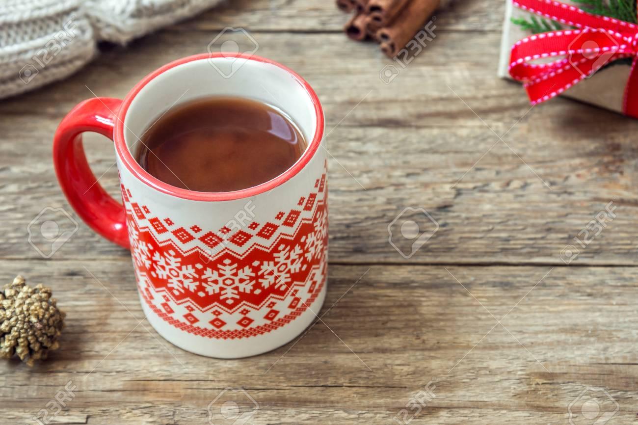 Christmas Hot Chocolate Drink With Christmas Gift And Scarf On ...