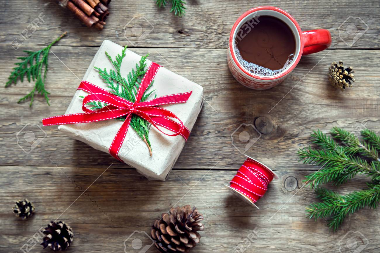 Christmas Background With Hot Chocolate, Gift Box, Fir Branches ...