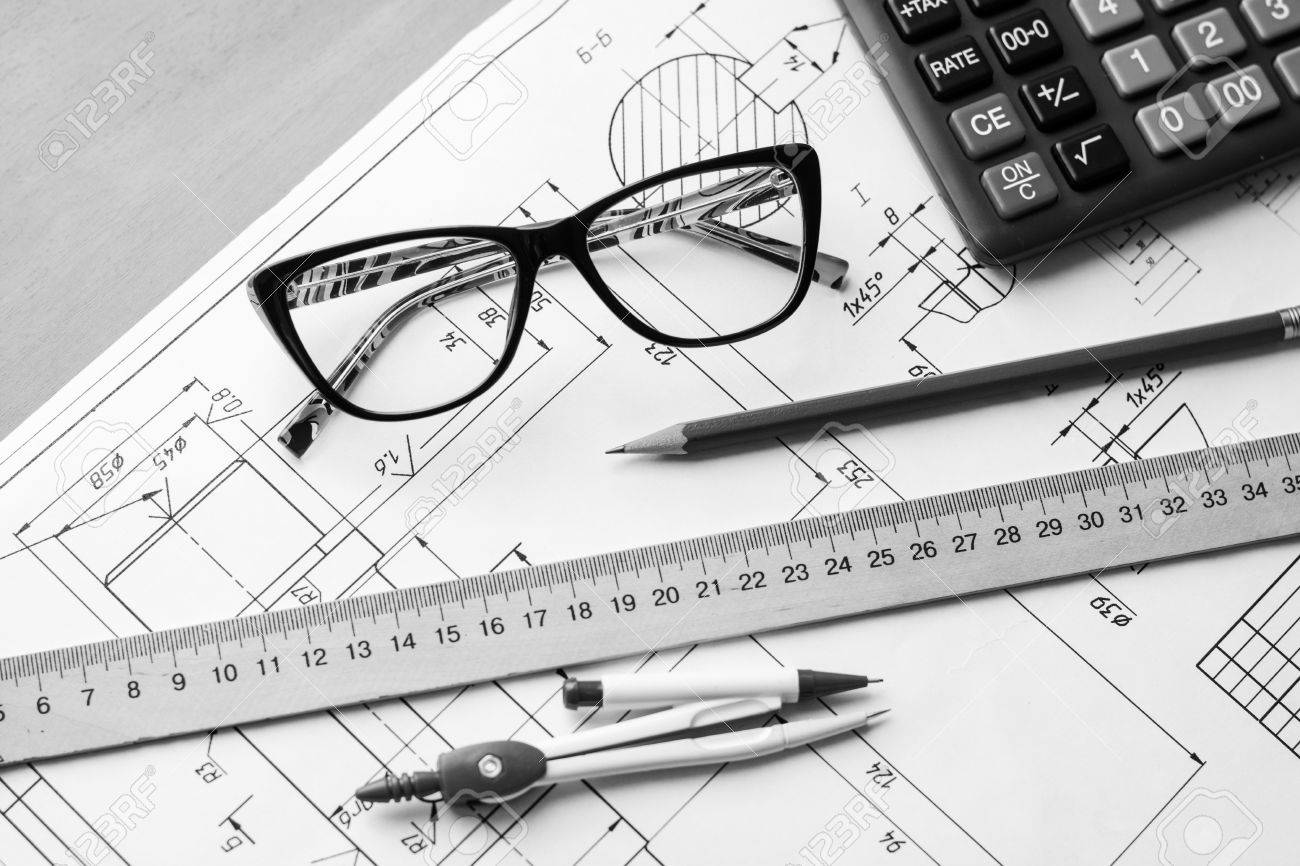 Engineering Drawing Equipment, Paper, Ruler And Pencil Stock Photo ...
