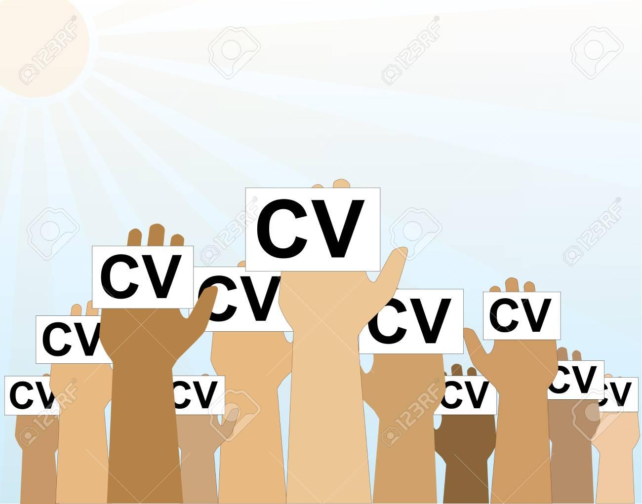 Hände Gruppe Halten Lebenslauf Profil Candidate Job Position ...