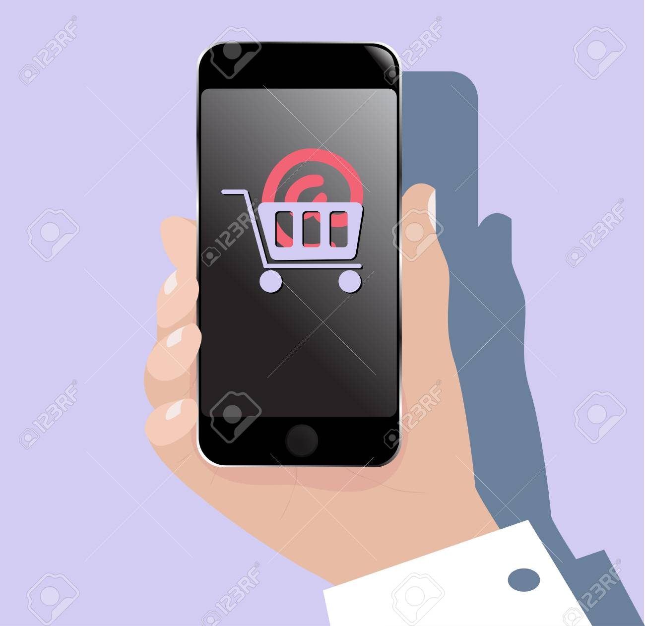 dfc35b9d3b0 Hand with mobile phone (smartphone). Web flat icon with online shopping  sign on