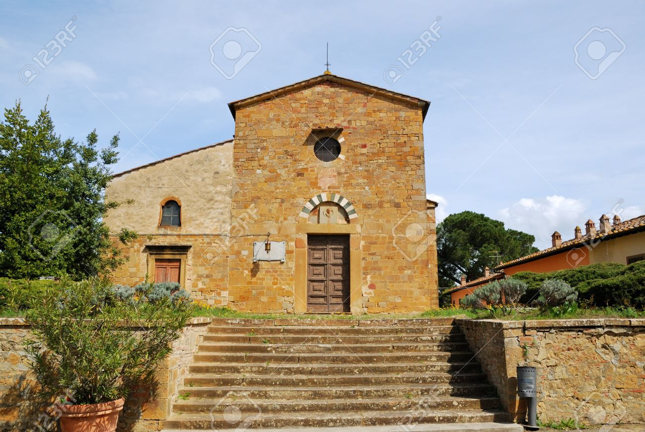 an example of the tuscan medieval architecture in tuscany stock