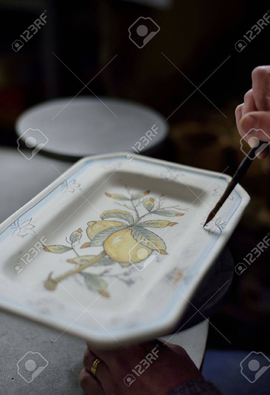 Traditional art of pottery's decoration in Tuscany Stock Photo - 18210937