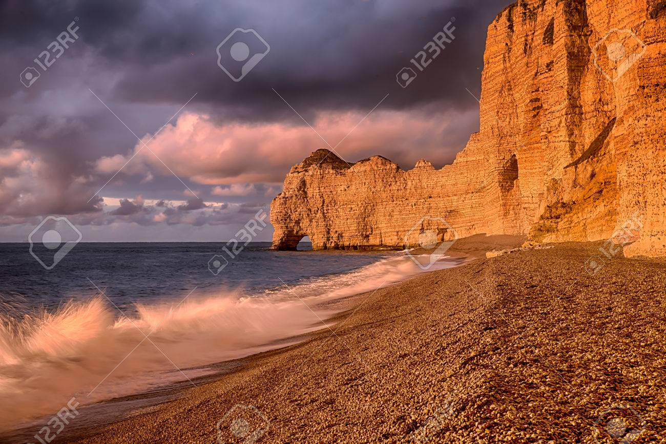 The Famous Cliffs Of Etretat Falaise D Aval In Normandie In