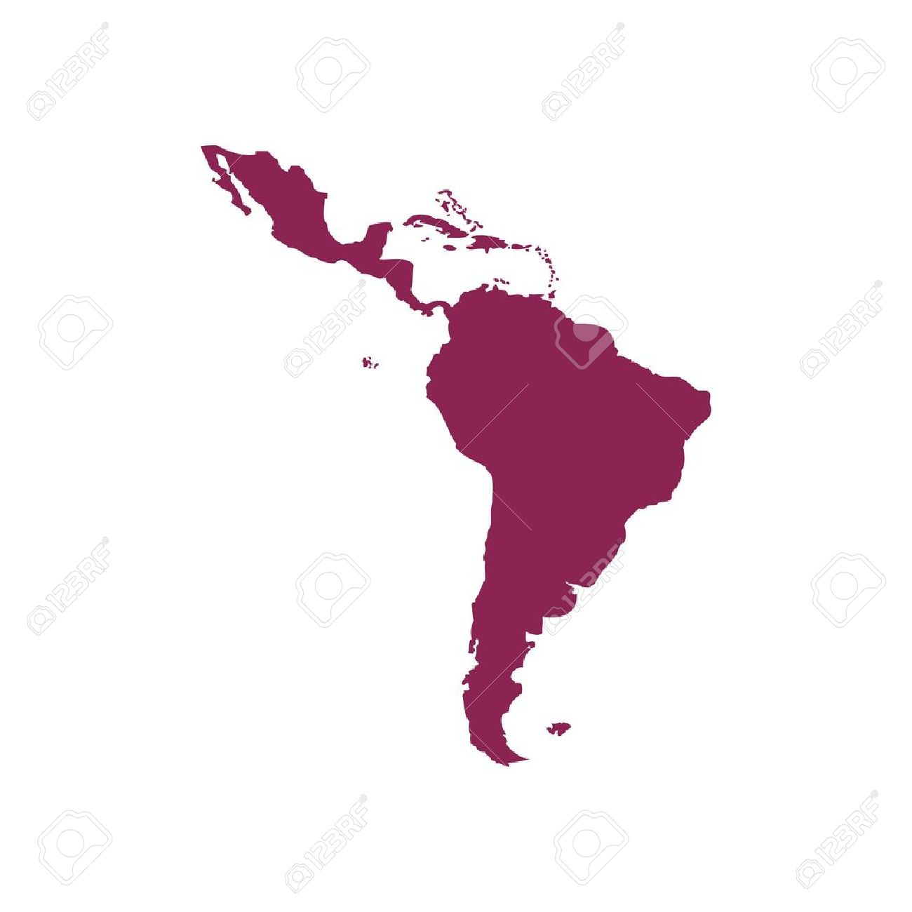 Purple America Map.Purple Latin America Map Silhouette Vector Illustration Isolated