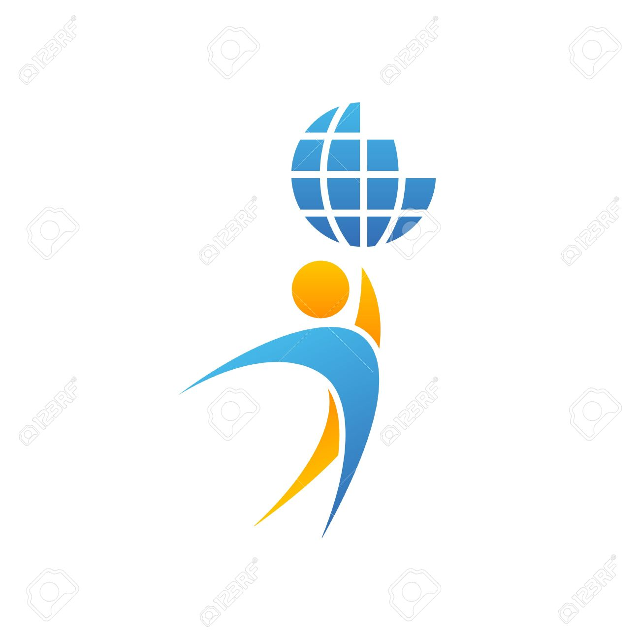 Achievement Logo globe logo man hands up planet together, achievement success
